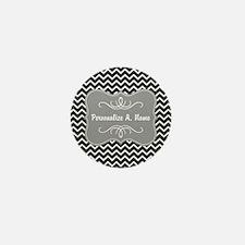 Gray and Charcoal Modern Chevron Custo Mini Button