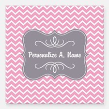 """Pink and White Chevron w Square Car Magnet 3"""" x 3"""""""