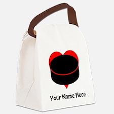 Custom Hockey Heart Canvas Lunch Bag