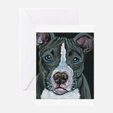 Blue Pitbull Dog Greeting Cards