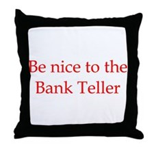 Bank Teller Throw Pillow