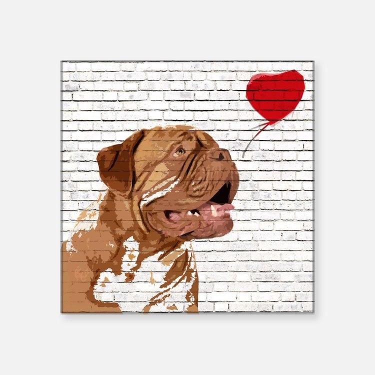 """Cute French mastiff Square Sticker 3"""" x 3"""""""