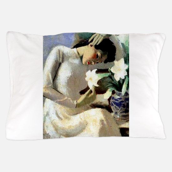 Young Vietnamese Woman with Lily Pillow Case