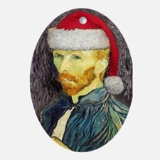 Van Gogh Santa Oval Ornament