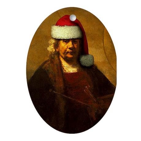 Rembrandt Santa Oval Ornament