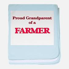 Proud Grandparent of a Farmer baby blanket