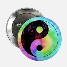 """Rainbow Tie Dye Yin Yang 2.25"""" Button"""