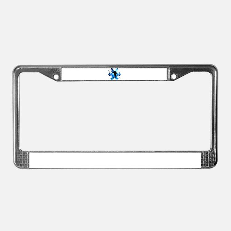 Winter Landscape Freestyle ski License Plate Frame