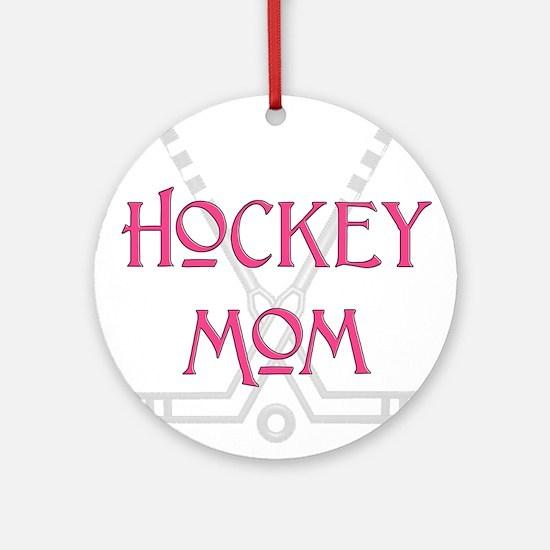 HockeyMomSticksPink.png Round Ornament
