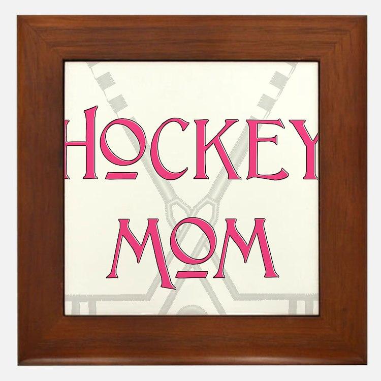 HockeyMomSticksPink.png Framed Tile