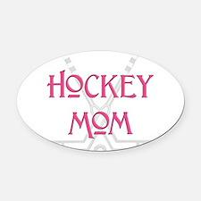 HockeyMomSticksPink.png Oval Car Magnet