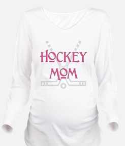 HockeyMomSticksPink.png Long Sleeve Maternity T-Sh