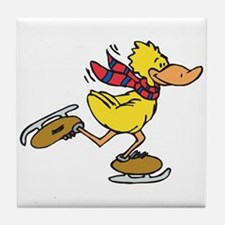 Ice Skating Duck Tile Coaster