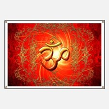 Om sign in gold,red Banner