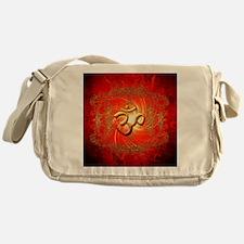 Om sign in gold,red Messenger Bag