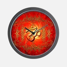 Om sign in gold,red Wall Clock