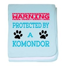 Warning Protected by a Komondor baby blanket