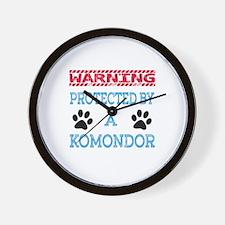 Warning Protected by a Komondor Wall Clock