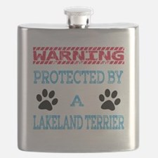 Warning Protected by a Lakeland Terrier Flask