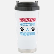 Warning Protected by a Stainless Steel Travel Mug