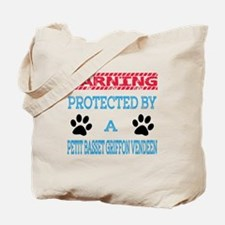Warning Protected by a Petit Basset Griff Tote Bag