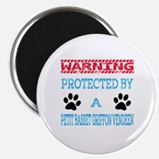Warning Protected by a Petit Basset Griffon Magnet