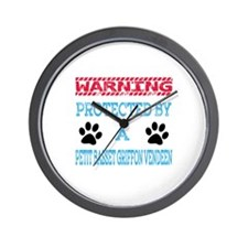 Warning Protected by a Petit Basset Gri Wall Clock