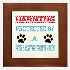 Warning Protected by a Petit Basset Gr Framed Tile