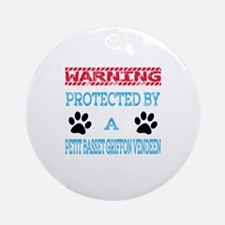 Warning Protected by a Petit Basset Round Ornament