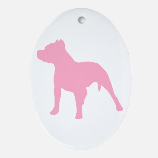 Pitbull Pink 1C Oval Ornament
