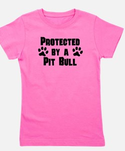 Cute Protected by a dog Girl's Tee