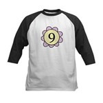 Nine Purple/Yellow Flower Kids Baseball Jersey