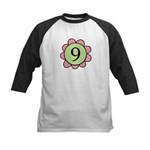 Nine pink/green flower Kids Baseball Jersey