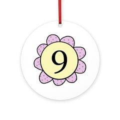 Nine Purple/Yellow Flower Ornament (Round)