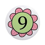 Nine pink/green flower Ornament (Round)
