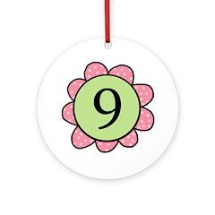 Nine pink/green flower Ornament (Round)