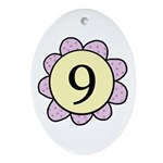 Nine Purple/Yellow Flower Oval Ornament