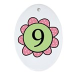 Nine pink/green flower Oval Ornament