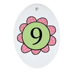 Nine pink/green flower Oval Ornament