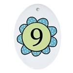 Nine Blue/Green flower Oval Ornament