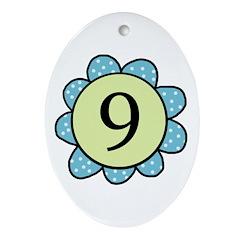 Nine Blue/Green flower Oval Ornament