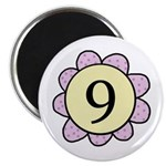 Nine Purple/Yellow Flower Magnet