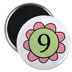Nine pink/green flower Magnet