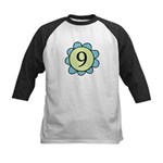 Nine Blue/Green flower Kids Baseball Jersey