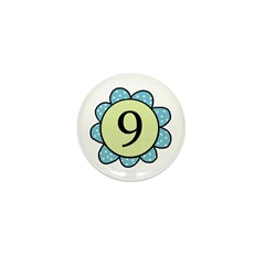 Nine Blue/Green flower Mini Button