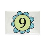 Nine Blue/Green flower Rectangle Magnet