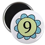 Nine Blue/Green flower Magnet