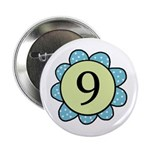 Nine Blue/Green flower Button