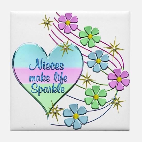 Nieces Make Life Sparkle Tile Coaster