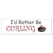 I'd Rather Be Curling Bumper Car Sticker